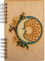 Houten notitieboek - A6 – Blanco – Maan