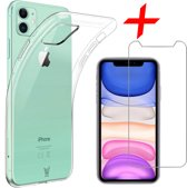 iPhone 11 Hoesje + Screenprotector Case Friendly - Transparant Siliconen TPU Soft Case - iCall