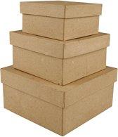 Vierkante dozen, l: 10+12,5+15 cm, 3 assorti