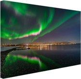 Noorderlicht in Tromso Canvas 120x80 cm - Foto print op Canvas schilderij (Wanddecoratie)