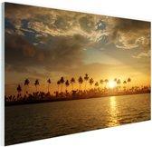 Palmbomen bij zonsondergang Glas 180x120 cm - Foto print op Glas (Plexiglas wanddecoratie) XXL / Groot formaat!