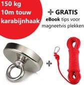 Vismagneet Set 150 KG Trekkracht Inclusief 10 Meter Rood Touw en Karbijnhaak -  Magneetvissen