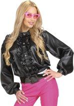 Zwarte blouse met franjes voor vrouwen - Verkleedkleding - One Size