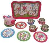 Tinnen kinderservies Vogeltjes roze servies serviesje