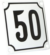 Emaille huisnummer wit/zwart nr. 50 10x10cm