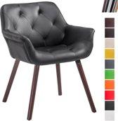 Clp Luxueuze bezoekersstoel CASSIDY club stoel, beklede eetkamerstoel met armleuning, belastbaar tot 150 kg - zwart kleur onderstel : walnoot