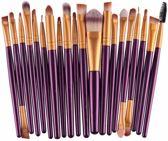 Evvie 20-delige make-up kwasten set - voor oogschaduw, lippenstift, concealer en foundation - pr/gd