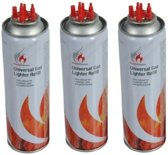 3x Aansteker gas / butaan gasfles - 250 ml - aanstekervulling