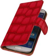 Samsung Galaxy S5 mini G800F Rood | Glans Croco bookstyle / book case/ wallet case Hoes  | WN™