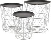 [en.casa]® Bijzettafel - metalen korf - 3 stuks set - Zilver