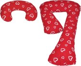 Zwangerschapskussens | J-vorm 235 cm incl. voedingskussen | | Rood met witte hartjes