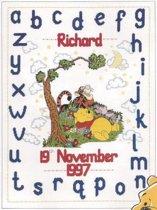 borduurpakket H11 winnie the pooh, geboorte, a.b.c.