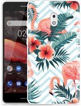 Nokia 2.1 Hoesje Flamingo Flowers