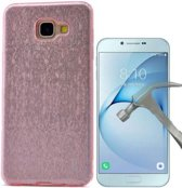 Teleplus Samsung Galaxy A810 2016 Glitter Custom Made Silicone Case Pink + Glass Screen Protector hoesje