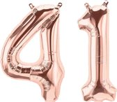 Cijfer 41 Rose Gold Helium 86 cm Excl. Helium