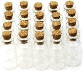 Lege Glazen Flesjes met Kurk - 1ML - 20 Stuks