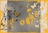 Fotobehang Pattern Flowers Butterflies Nature | XL - 208cm x 146cm | 130g/m2 Vlies