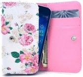 GSMWise - Apple iPhone 6 / 7 / 8 en Samsung Galaxy S6 / S7 / S8 - Universele PU Lederen Portemonnee Hoesje - Bloemen Design - Wit / Roze