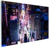 Times Square nachtlichten Glas 30x20 cm - Foto print op Glas (Plexiglas wanddecoratie)