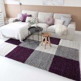 Hoogpolig vloerkleed shaggy Trend blokken - paars 200x290 cm