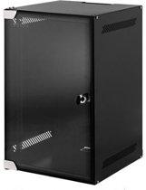 Alfaco 10-3306, 6U Serverkast 10 inch met glazen voordeur, (BxDxH) 280x310x330mm, Zwart