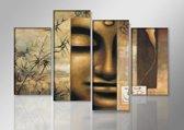 Schilderij - Boeddha, Bruin, 130X80cm, 4luik