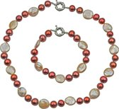 Zoetwater parel ketting set Red Pearl Peach Coin