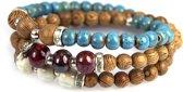 Natural Kralenarmband – Wood – Ceramic – Turquoise