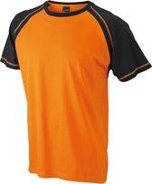 Heren t-shirt oranje/zwart L