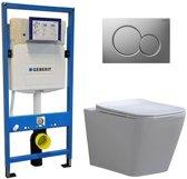Geberit UP 320 Toiletset - Inbouw WC Hangtoilet Wandcloset - Alexandria Flatline Sigma-01 Mat Chroom