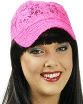 Fluo roze kanten pet voor vrouwen - Verkleedhoofddeksel - One size