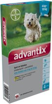 Bayer Advantix 100/500 Hond -  4-10 kg - 4 Pipetten