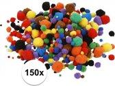 150x knutsel pompons 15-40 mm kleuren