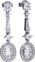 Diamonfire - Zilveren oorhangers Bridal - Zirkonia - Entourage - Ovaal - Vintage
