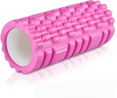 LifeGoods Grid Foam Roller – Trigger Point Massage - Fitness – Yoga – Pilates – Fascia – Bindweefsel - Soft – 33cm - Roze
