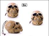 3x Doodshoofd schedel aan touw 25cm