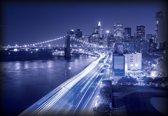 Fotobehang New York City Brooklyn Bridge Lights | DEUR - 211cm x 90cm | 130g/m2 Vlies