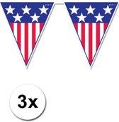 3x Amerika vlaggenlijn / slinger 4 meter