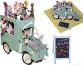 Popcards popupkaarten - Vrolijke bloemist auto Citroen 2CV verjaardag pop-up kaart