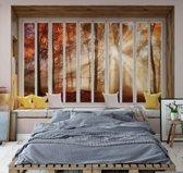 Fotobehang 3D Window View Autumn Forest   VEXXXL - 416cm x 254cm   130gr/m2 Vlies