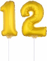 Gouden opblaas cijfer 12 op stokjes - verjaardag versiering / jaar