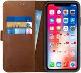 Rosso Deluxe Apple iPhone XR Hoesje Echt Leer Book Case Bruin | Ruimte voor drie pasjes | Opbergvakje voor briefgeld | Handige stand functie | Magneetsluiting