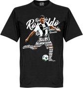 Ronaldo Juve Script T-Shirt - Zwart  - XL