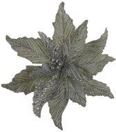 Kerstdecoraties - Clip Poinsettia Zilver - D30cm