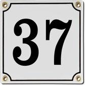 Emaille huisnummer wit nr. 37