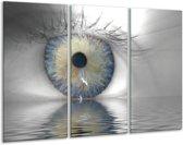 Canvas schilderij Ogen | Grijs, Wit, Blauw | 120x80cm 3Luik