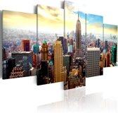 Schilderij - New York City - Heart of the City, Multi-gekleurd, 5luik