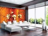 Fotobehang Vlies | Bloemen | Bruin, Oranje | 368x254cm (bxh)