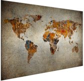 Artistieke wereldkaart op aluminium 90x60 cm