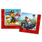 40x Paw Patrol themafeest servetten 33 x 33 cm papier - Kinderfeestje papieren wegwerp tafeldecoraties